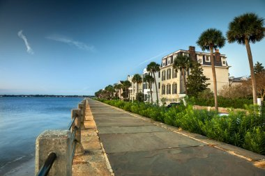 Charleston South Carolina row of old historic federal style houses on Battery Street  USA