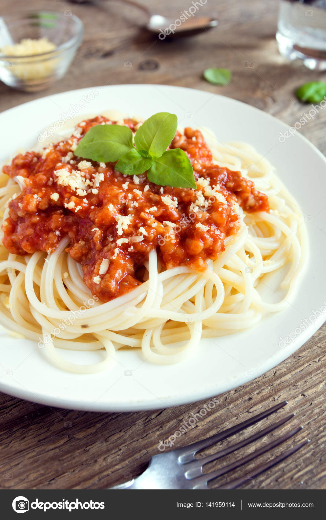 Spaghetti Bolognese Pasta Tomato Sauce Minced Meat Grated Parmesan Cheese Stock Photo Image By C Mizina 141959114