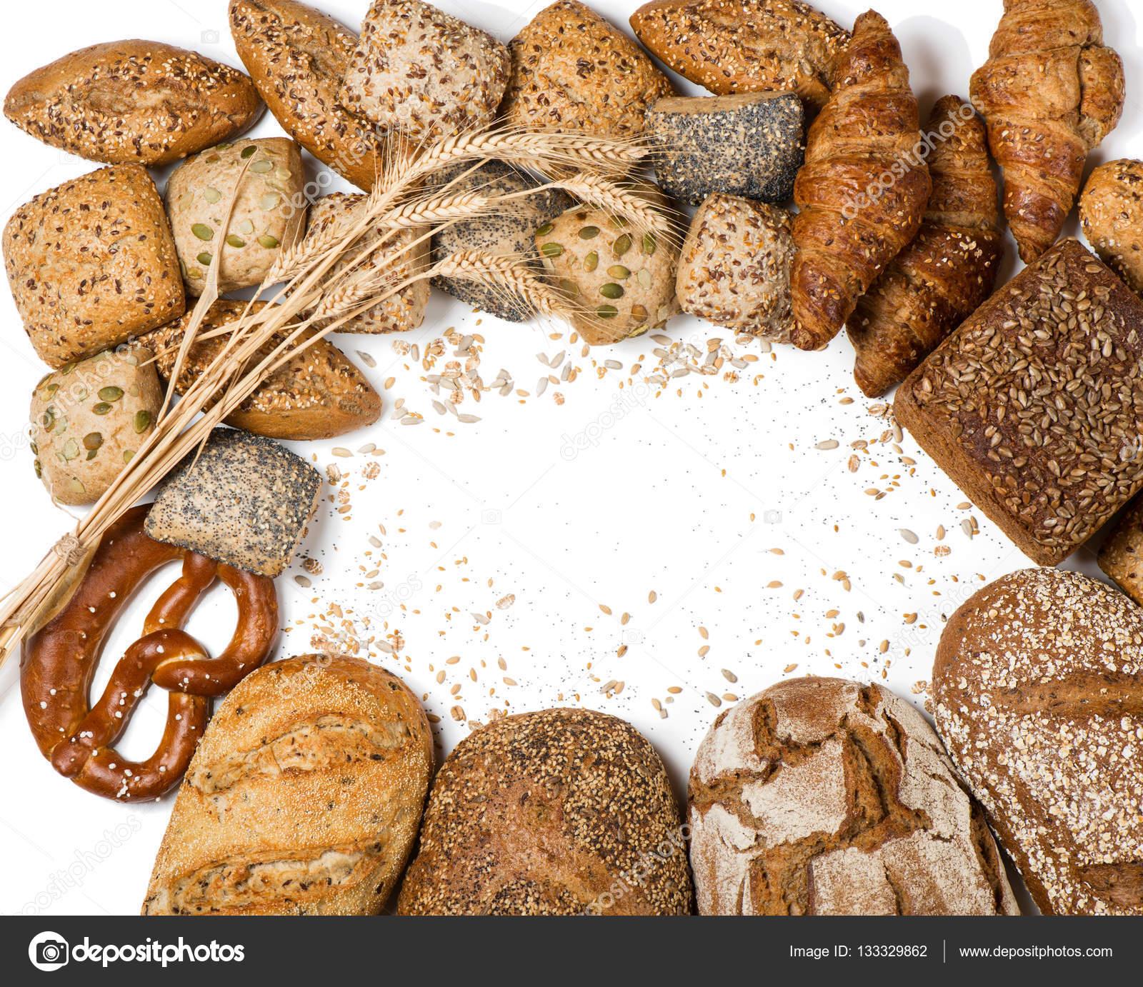 Cornice di vari tipi di pane e panini sopra la vista foto stock denira 133329862 - Diversi tipi di pane ...