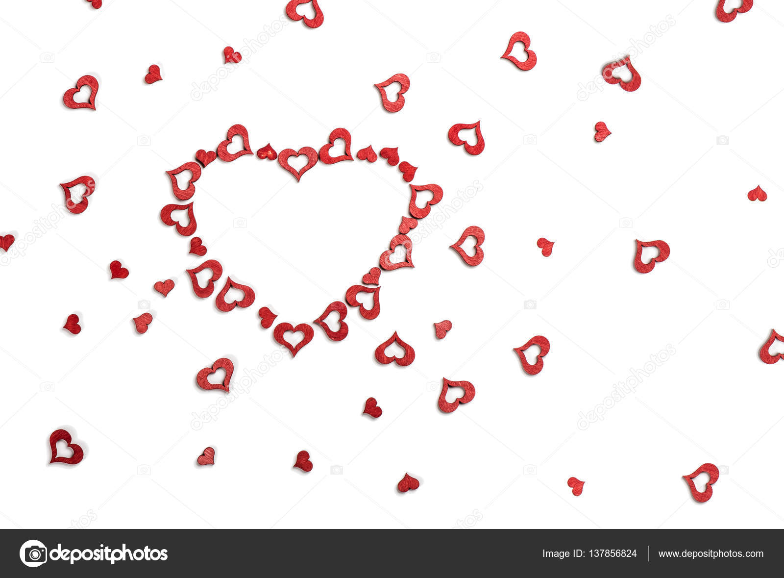 Valentines Greeting Card With Red Hearts Stock Photo Denira