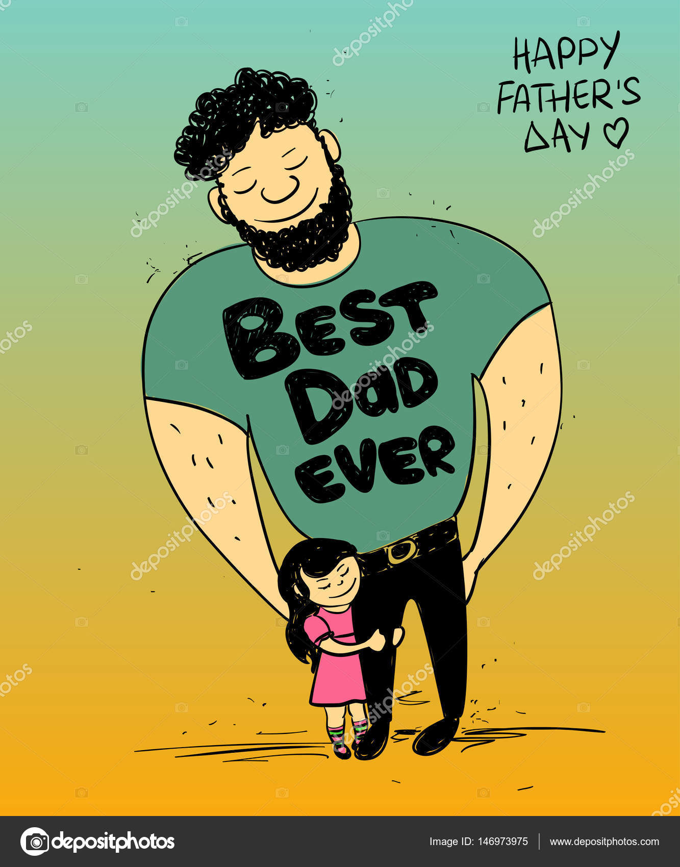 colorful funny illustration with cute little baby girl daughter hugging dad happy fathers day greeting card family concept vector by annykos