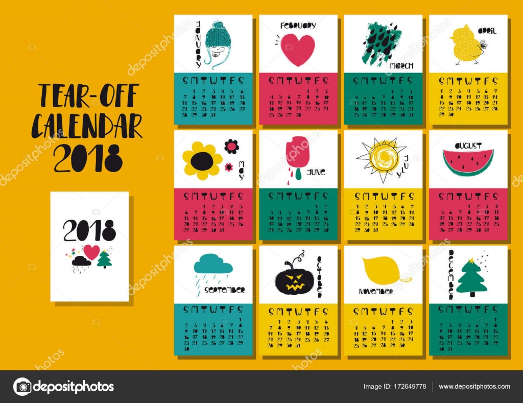 Illustration For Calendar : Calendar with funny illustrations — stock vector