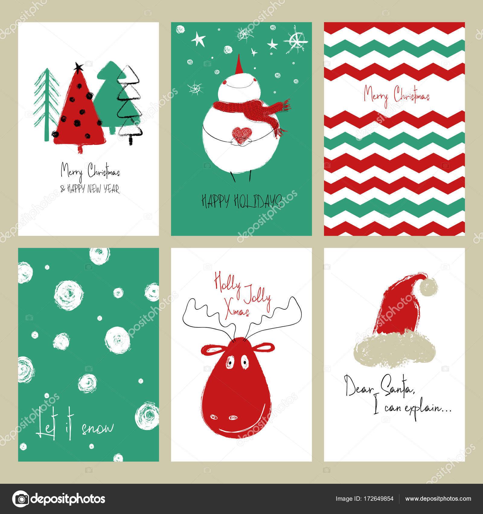 Biglietti Di Natale Divertenti.Set Di Cartoline Di Natale Divertenti Vettoriali Stock C Annykos