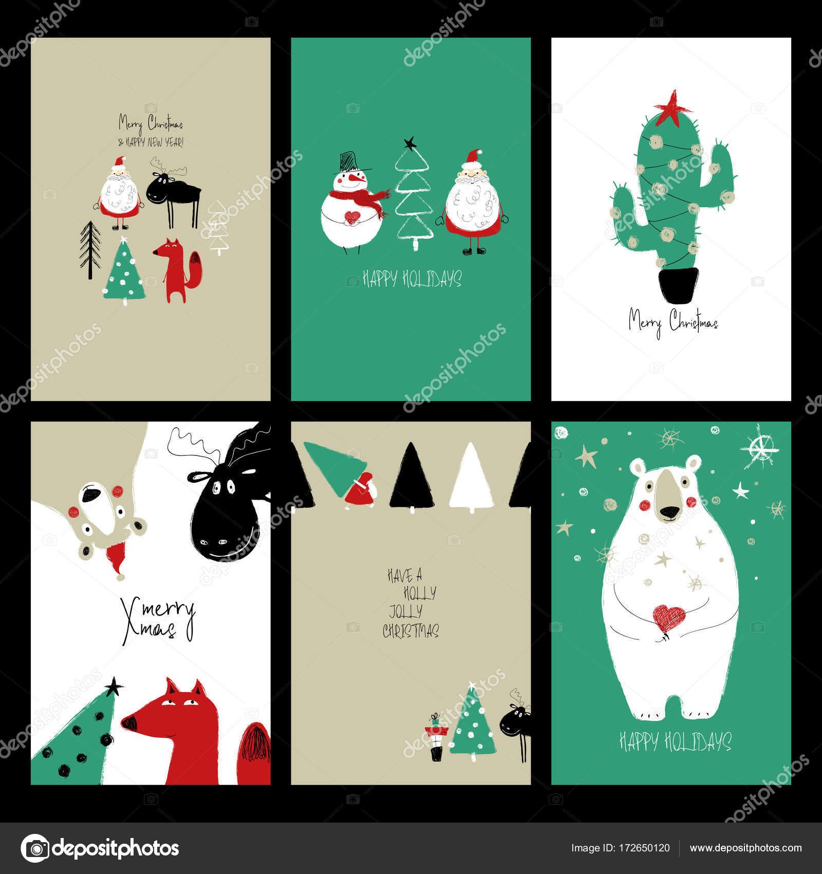 Biglietti Di Natale Divertenti.Set Di Cartoline Di Natale Divertenti Retro Vettoriali Stock