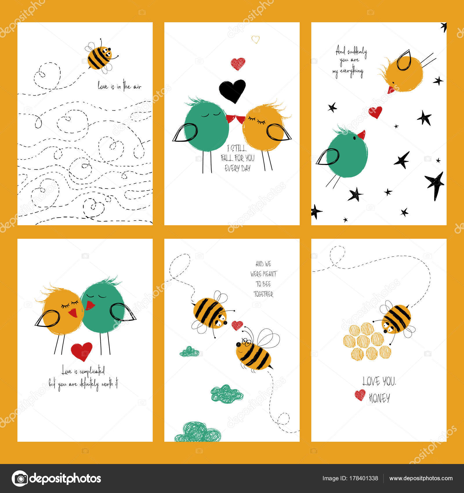 Set Of Love Cards With Bees And Birds Stock Vector Annykos