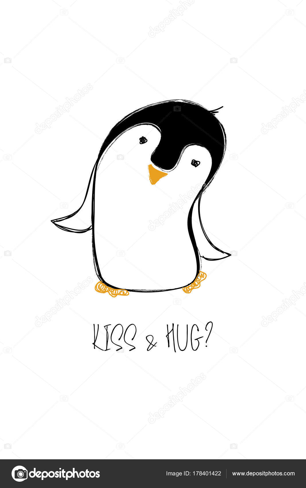 Love Card With Cute Penguin Stock Vector Annykos 178401422