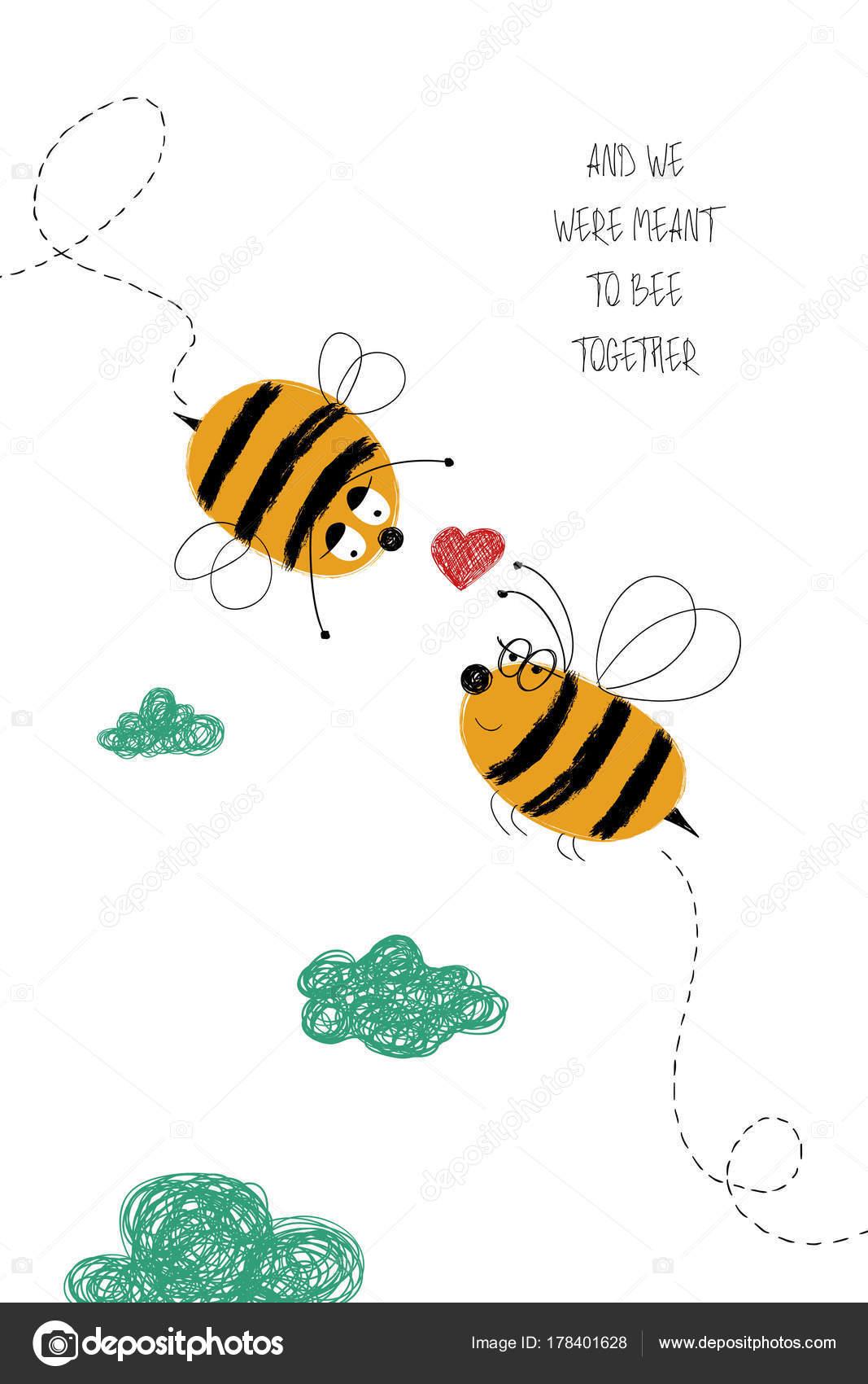 Tarjeta de amor con pareja de abejas — Archivo Imágenes Vectoriales ...