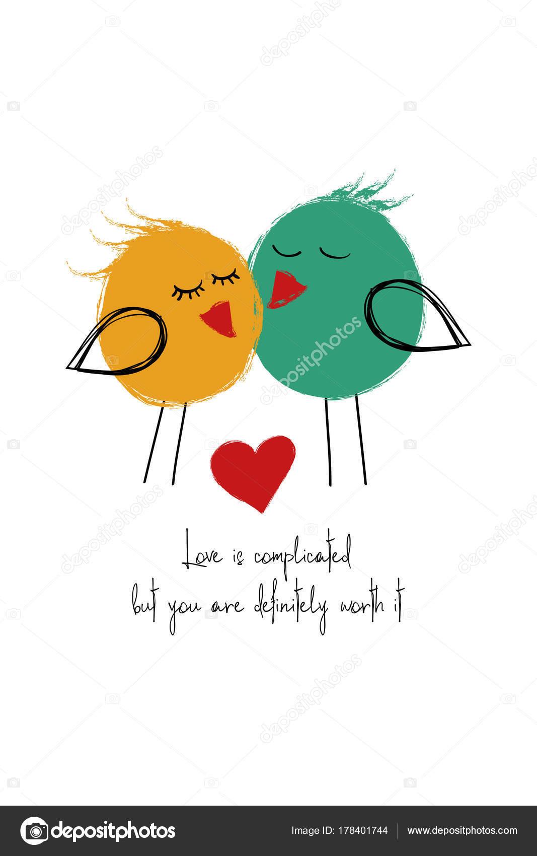 Liebe Karte Mit Paar Der Vogel Stockvektor C Annykos 178401744