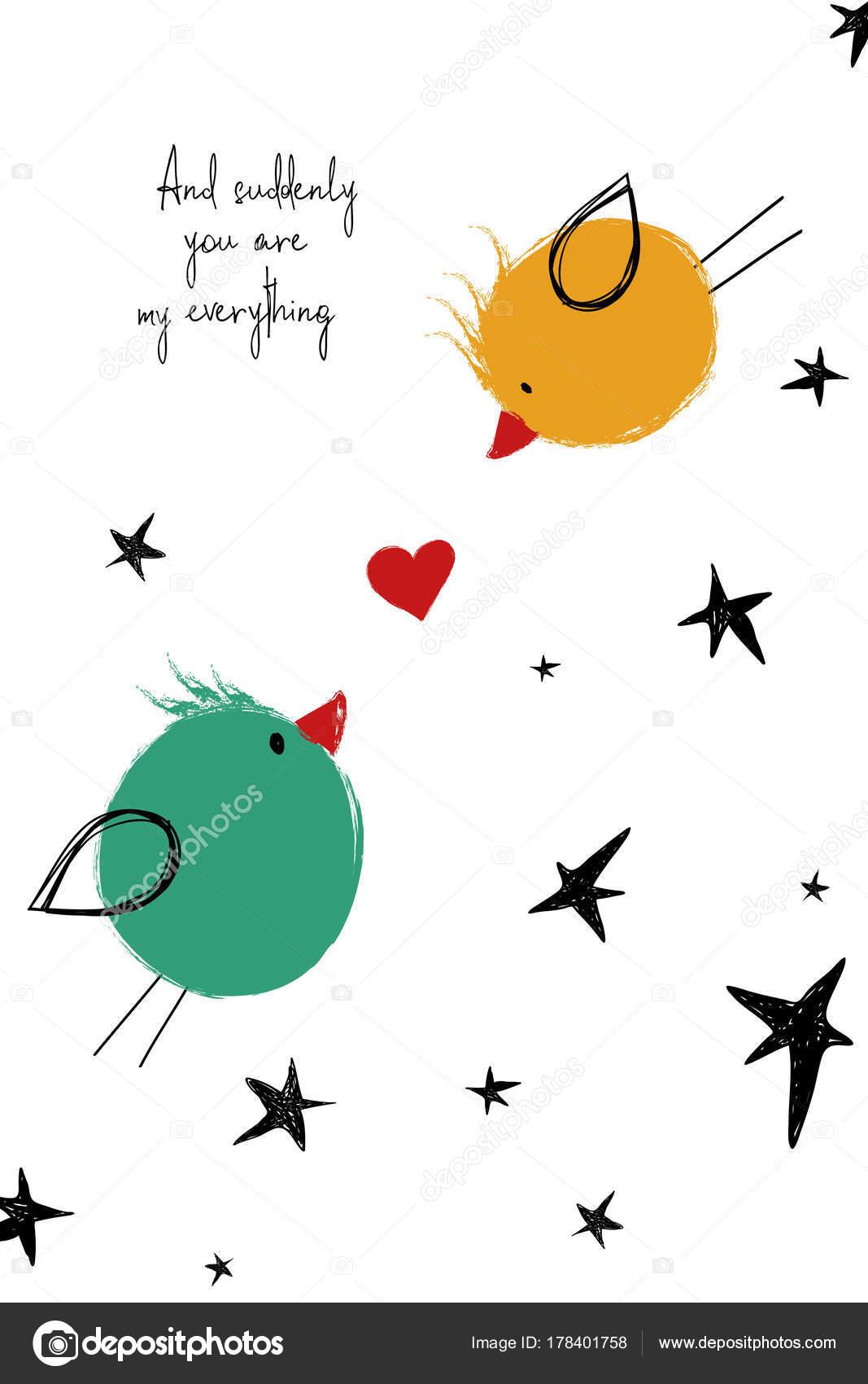 Liebe Karte Mit Paar Der Vogel Stockvektor C Annykos 178401758