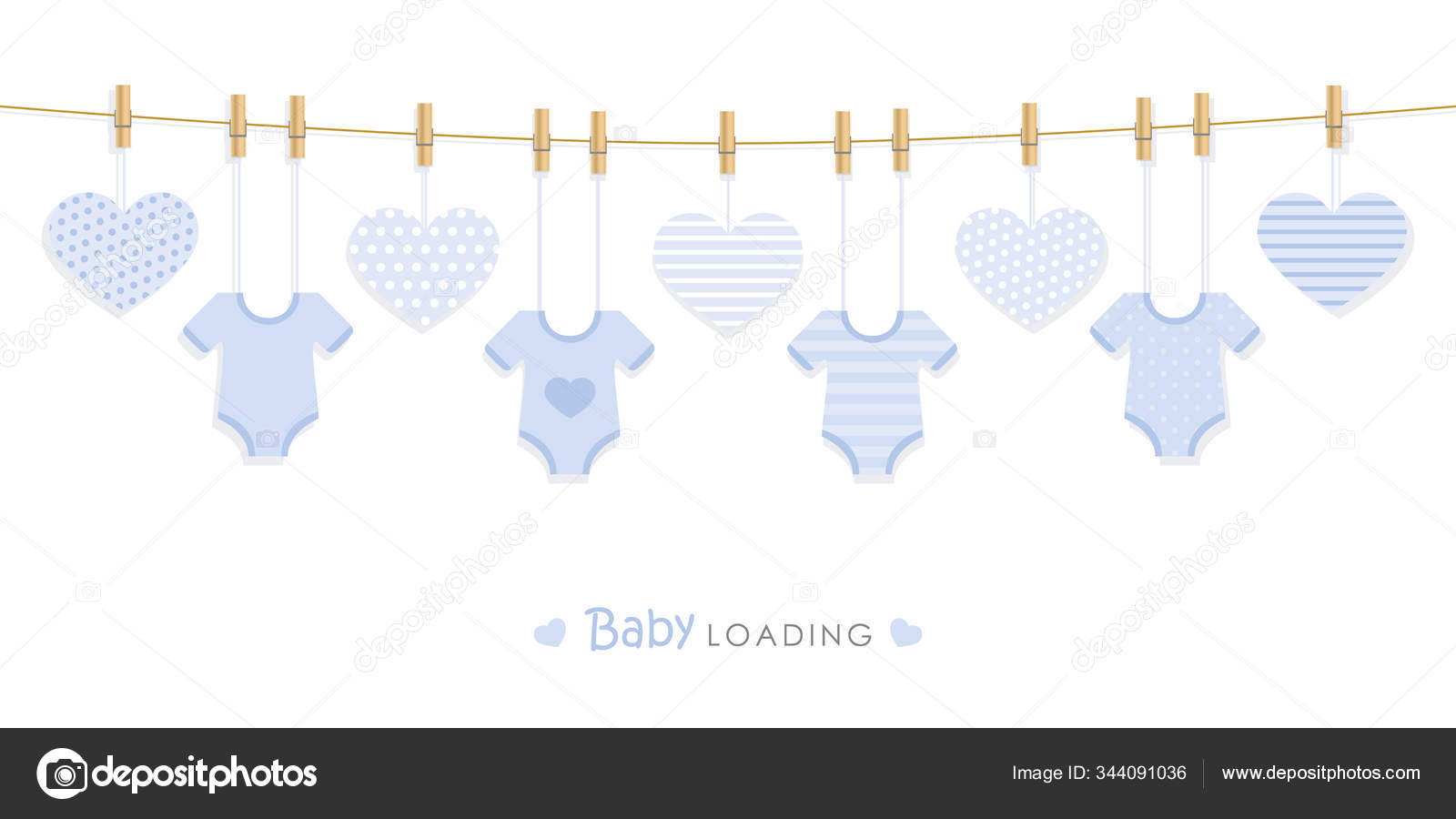 Baby Shower Welcome Greeting Card For Childbirth With Hanging Bodysuits Stock Vector C Krissikunterbunt 344091036