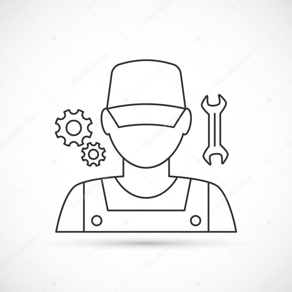 Ícone de esboço mecânico avatar — Vetores de Stock © Pixelalex