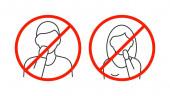 Ne érintse meg az arcvonal ikonok fehér háttér
