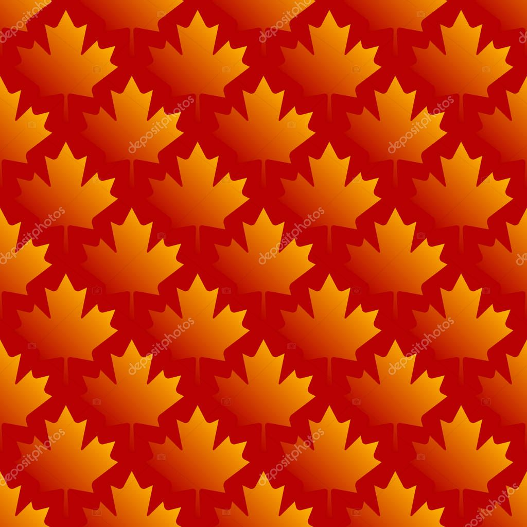 autumn maple leaves symmetrical seamless pattern