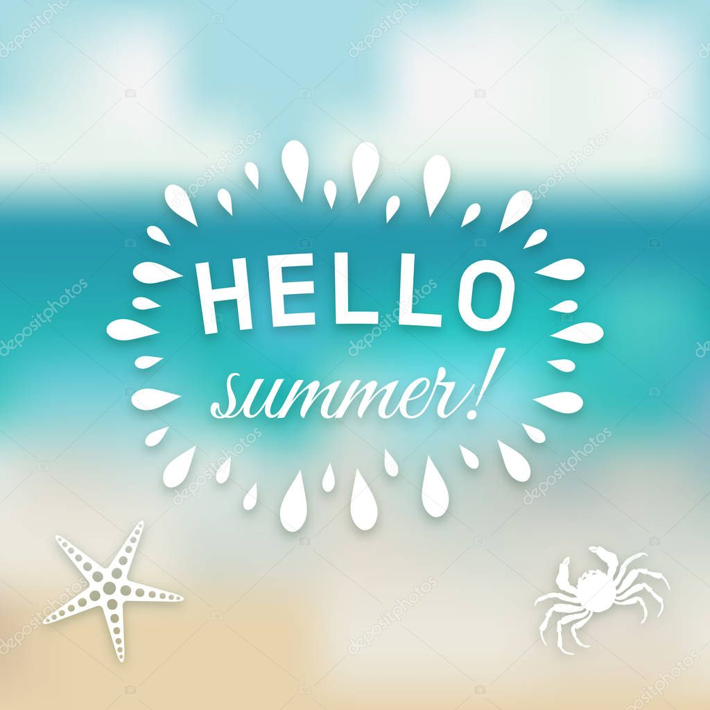 Hello summer card at sea background with marine creature