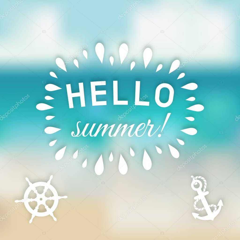 Hello summer card at sea background with marine symbols
