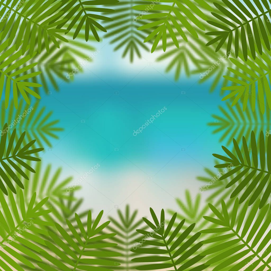 palm leaves on sea view background