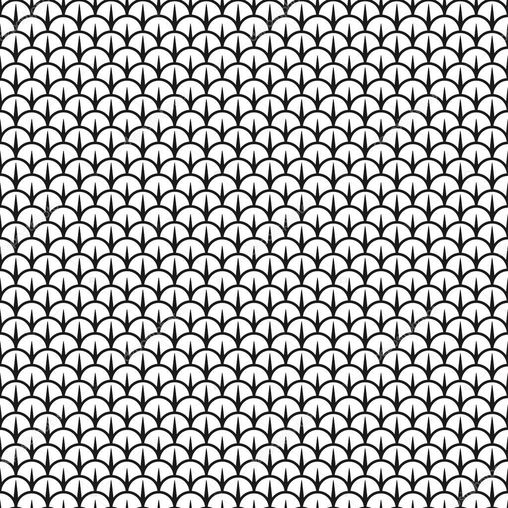 scales seamless black and white pattern