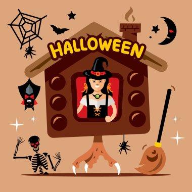 Vector Halloween Witch Hut Cartoon Illustration.