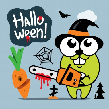 Vector Halloween Crazy Rabbit in witch hat Cartoon Illustration.