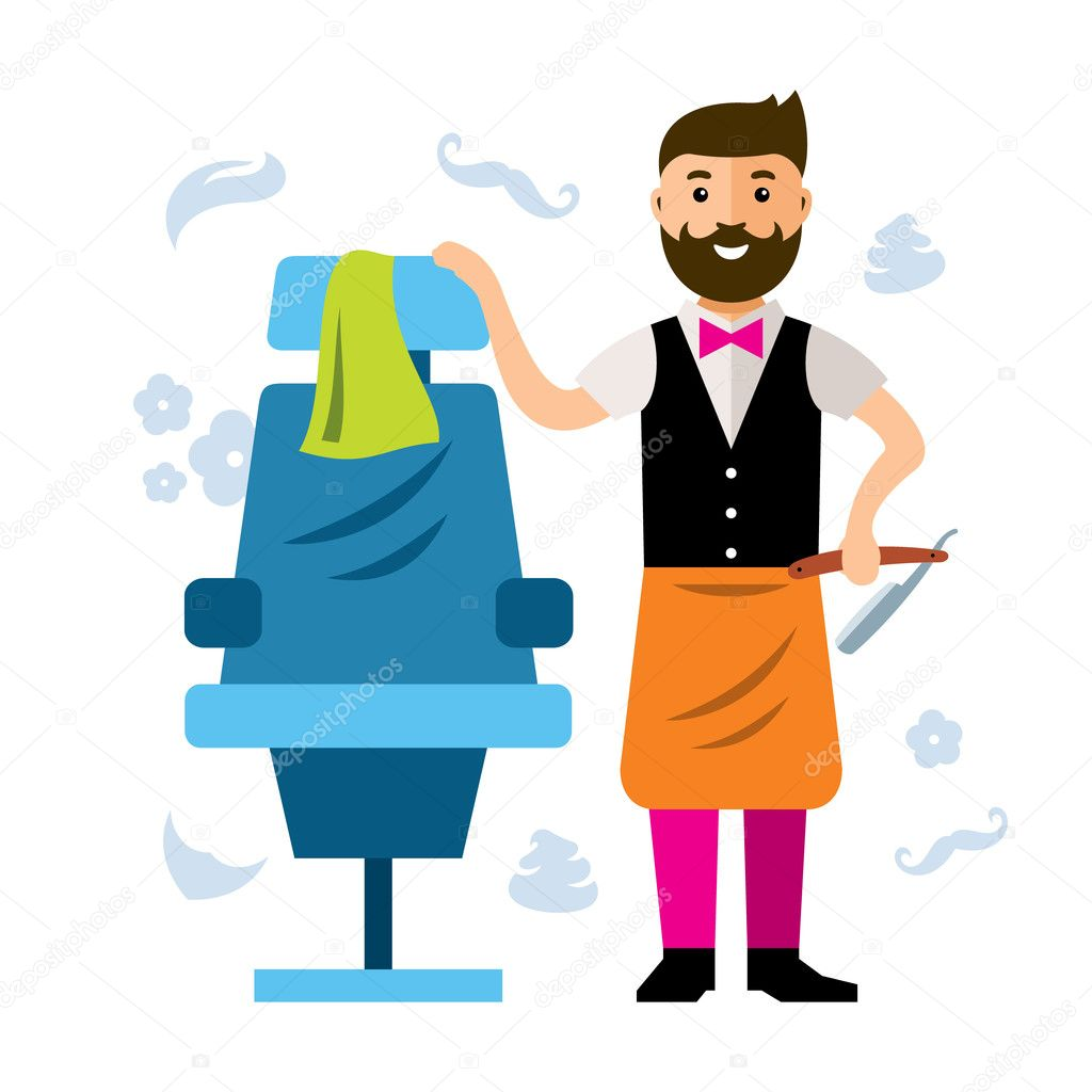 Hair salon chair isolated stock photos illustrations and vector art - Happy Barber Near The Hairdressing Chairs Isolated On A White Background Vector By Steinar14