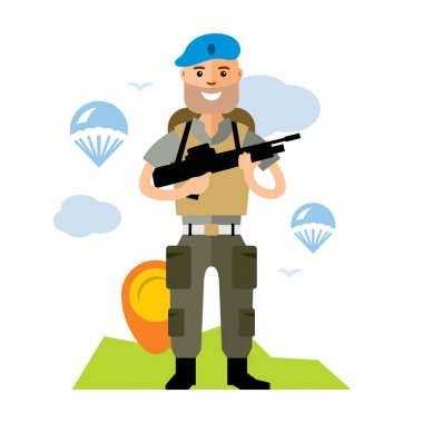 Vector Airborne troops. Flat style colorful Cartoon illustration.