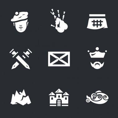 Vector Icons Set of Scotland.