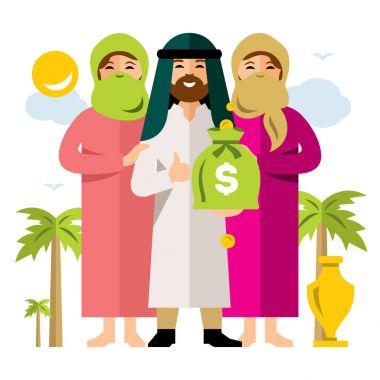 Vector Polygamy. Saudi man and his harem. Flat style colorful Cartoon illustration.
