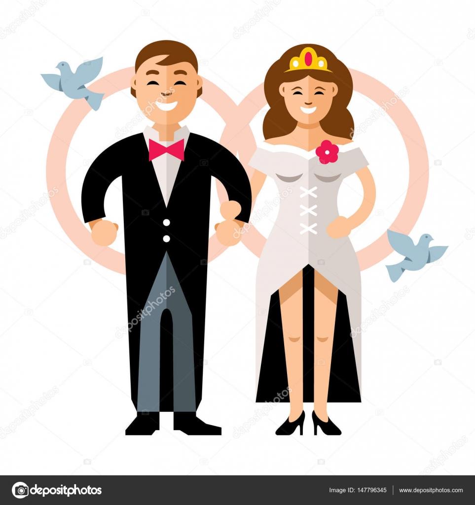 Dibujos Novios Animados Casados Vector Hermosa Joven Pareja De