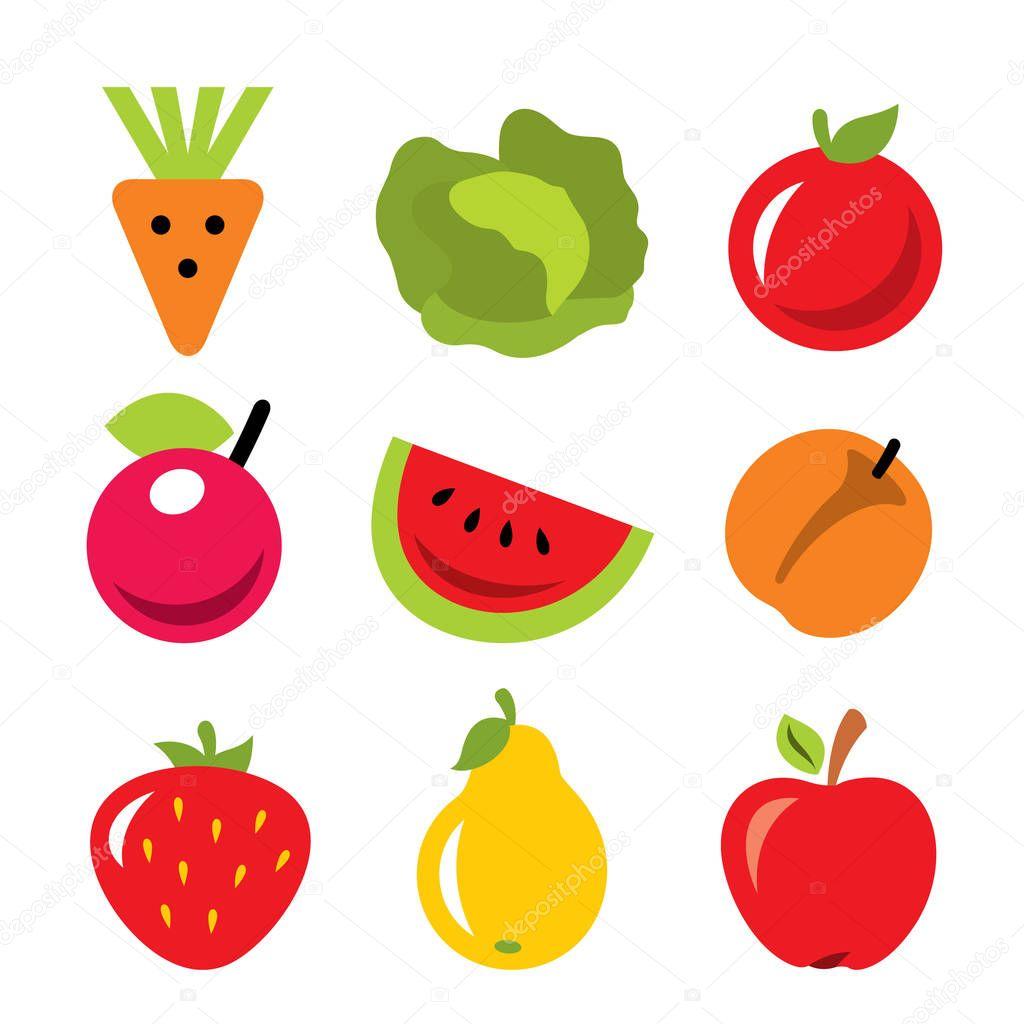Vector Conjunto De Frutas Y Verduras