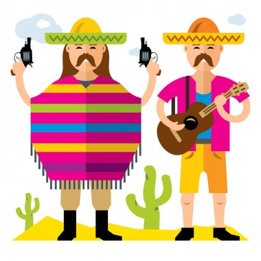 Vector Travel Concept Mexico. Flat style colorful Cartoon illustration.