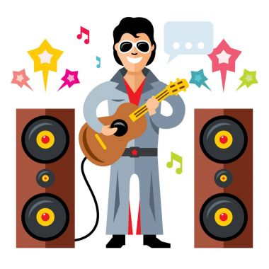 Vector Musician parody artist with a guitar. Rock and roll. Flat style colorful Cartoon illustration.