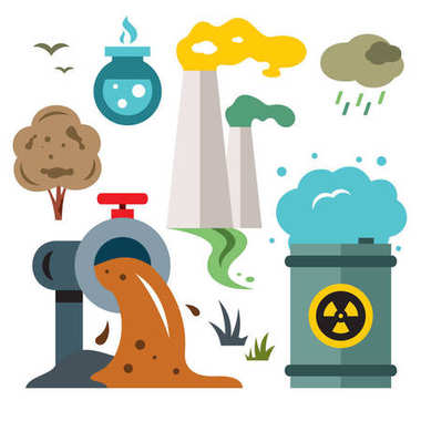 Environment pollution. Ecology. Flat style colorful Vector Cartoon illustration.