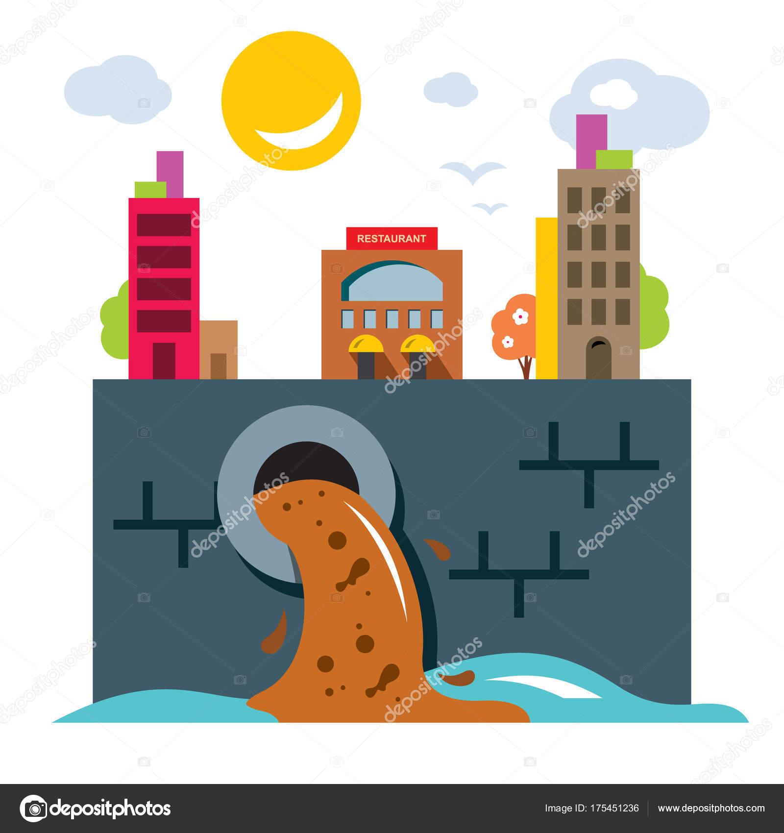 Contaminación Del Ambiente Ecología Ilustración De Dibujos