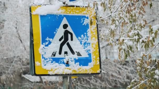 Allowed pedestrian crossing. Road sign blue color of the pointer of crosswalk and direction of travel. Snowy winter trees. Snowfall, cloudy gray sky, winter after heavy snow, after a storm