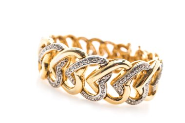 Gold bracelet and diamond jewelry