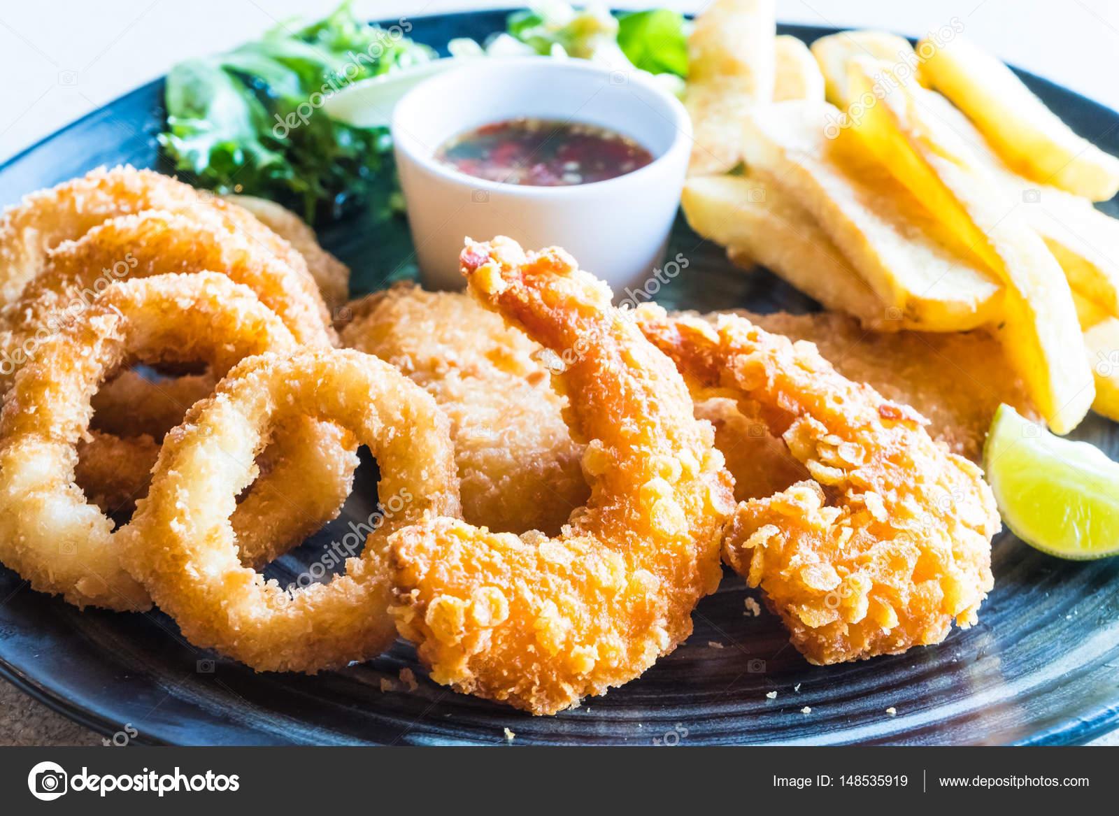 Fried Seafood Platter Stock Photo C Mrsiraphol 148535919