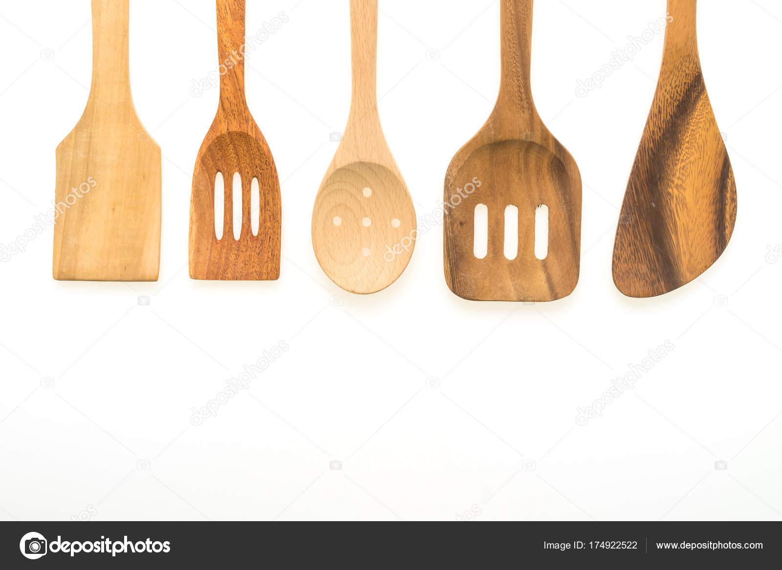 Wood Utensils Kitchen Ware Isolated White Background — Stock Photo ...
