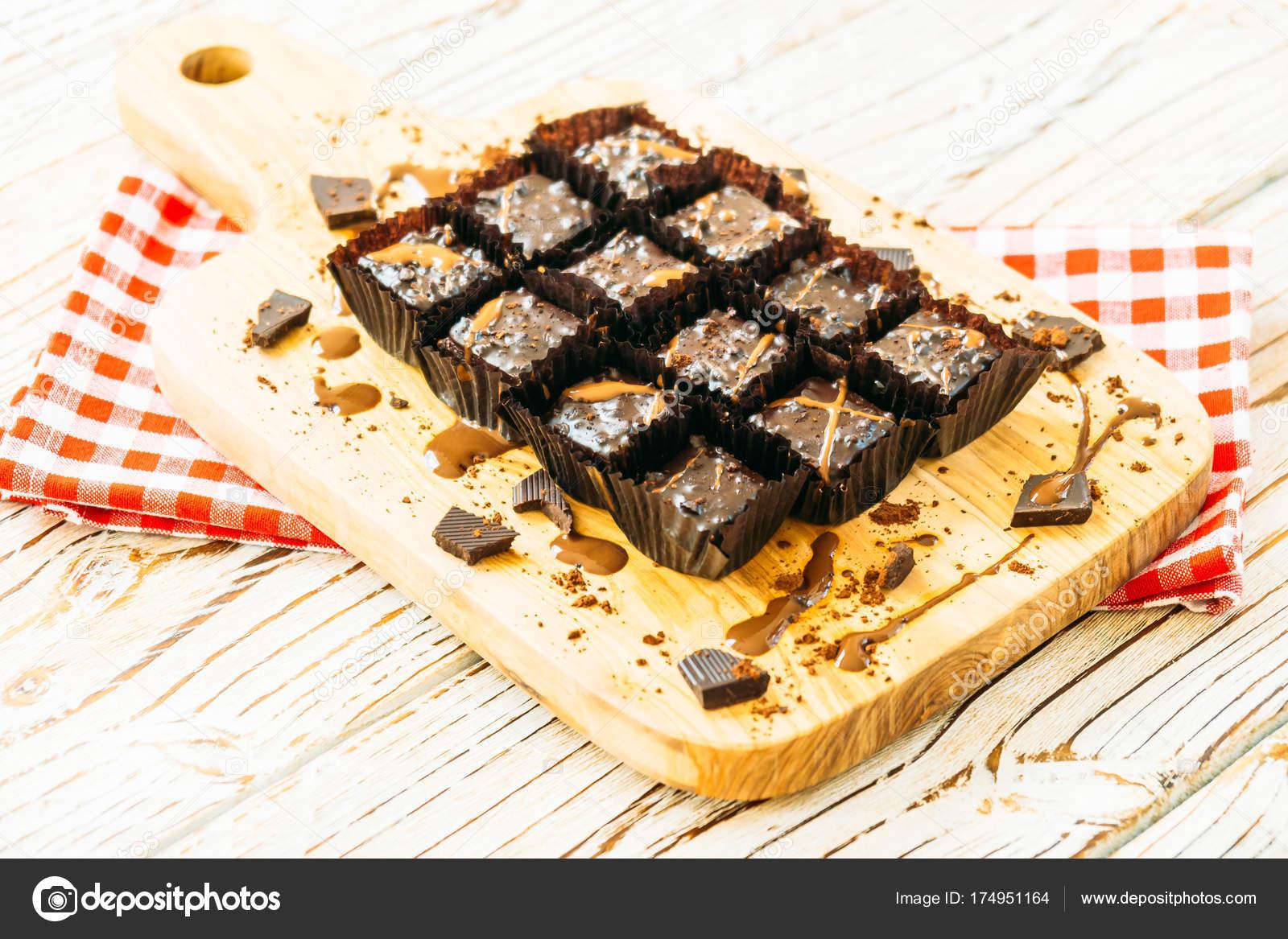 Dessert Sucre Avec Gateau Brownies Chocolat Sur Une Planche Decouper