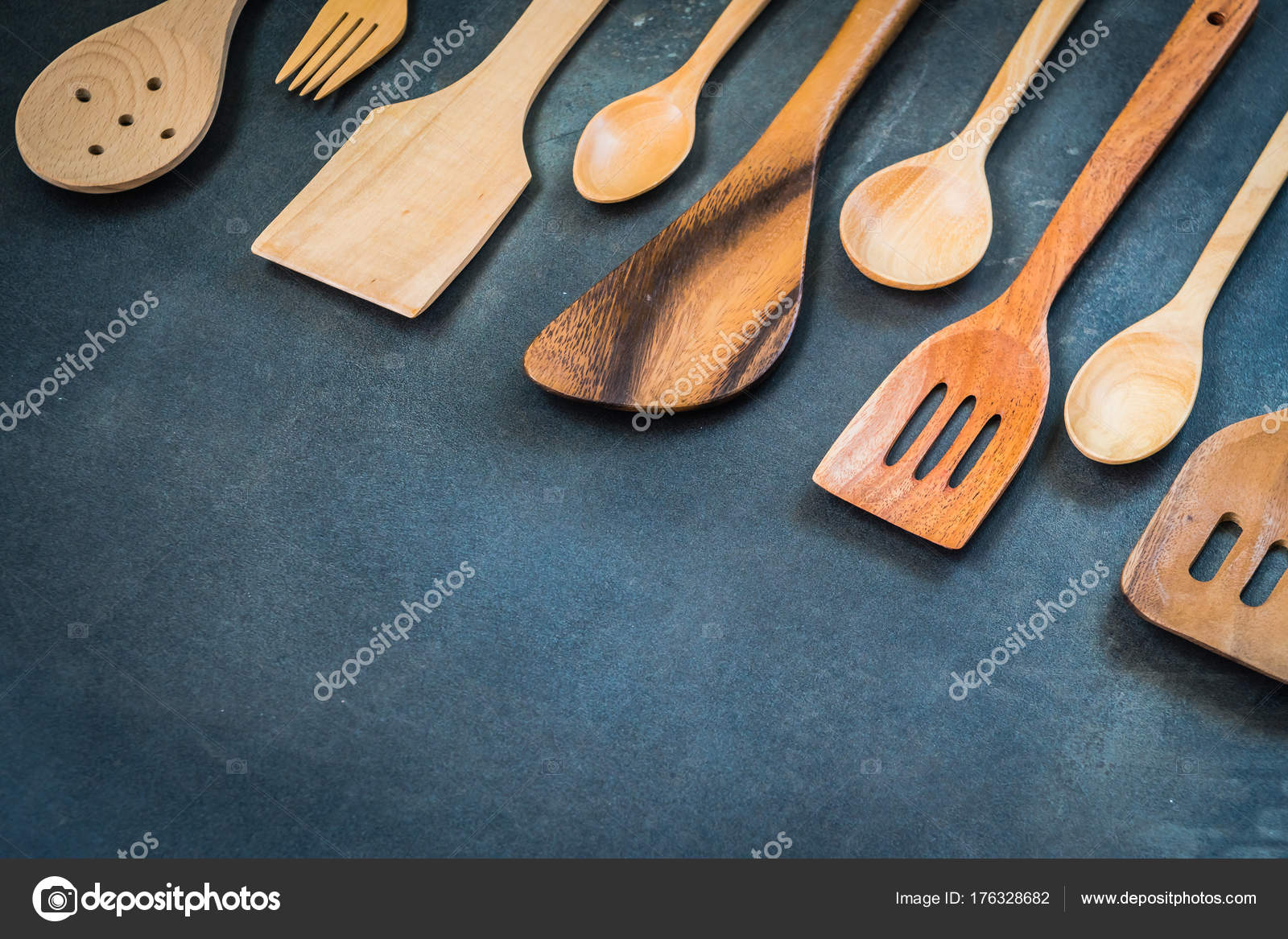 Kitchen Utensils Copy Space Black Stone Background — Stock Photo ...