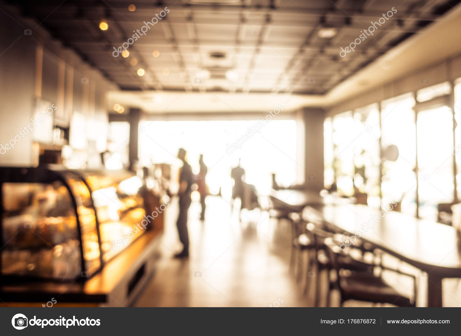 Abstract Blur Coffee Shop Cafe Restaurant Interior Background Vintage Filter Stock Photo C Mrsiraphol 176876872