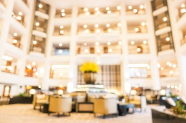 Abstract blur and defocused beautiful luxury hotel lobby and lounge interior for background