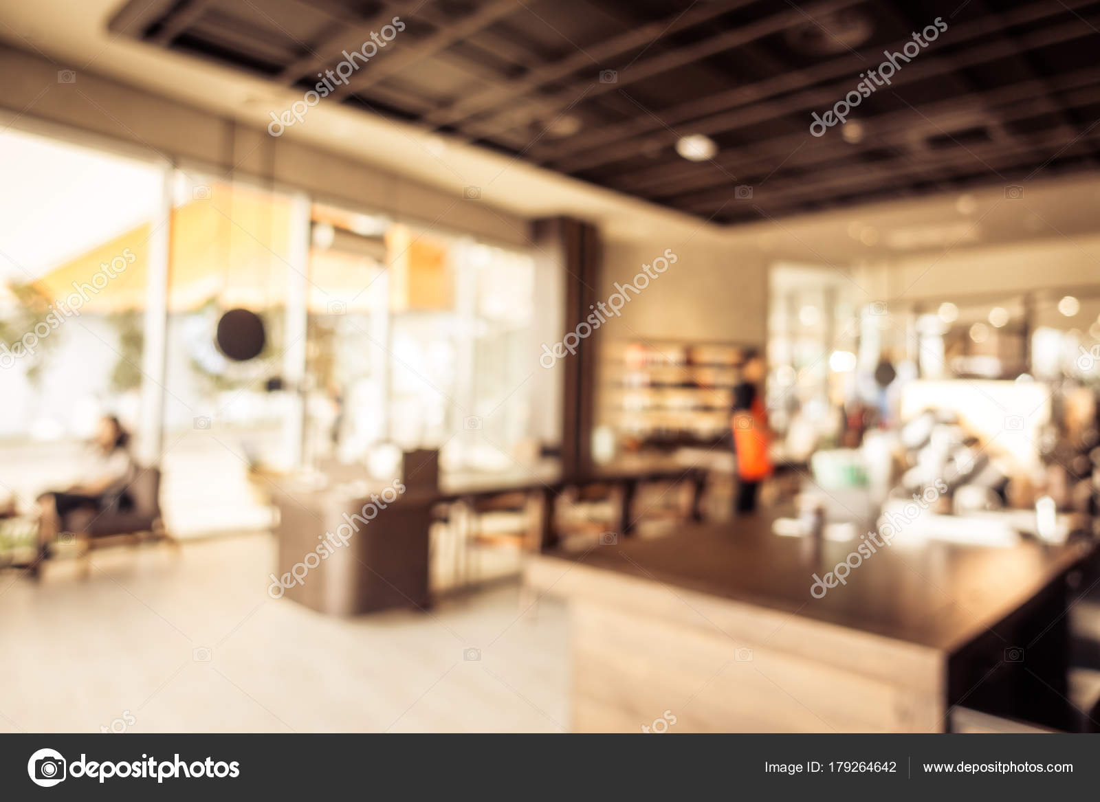 Abstract Blur Coffee Shop Cafe Restaurant Interior Background Vintage Filter Stock Photo C Mrsiraphol 179264642