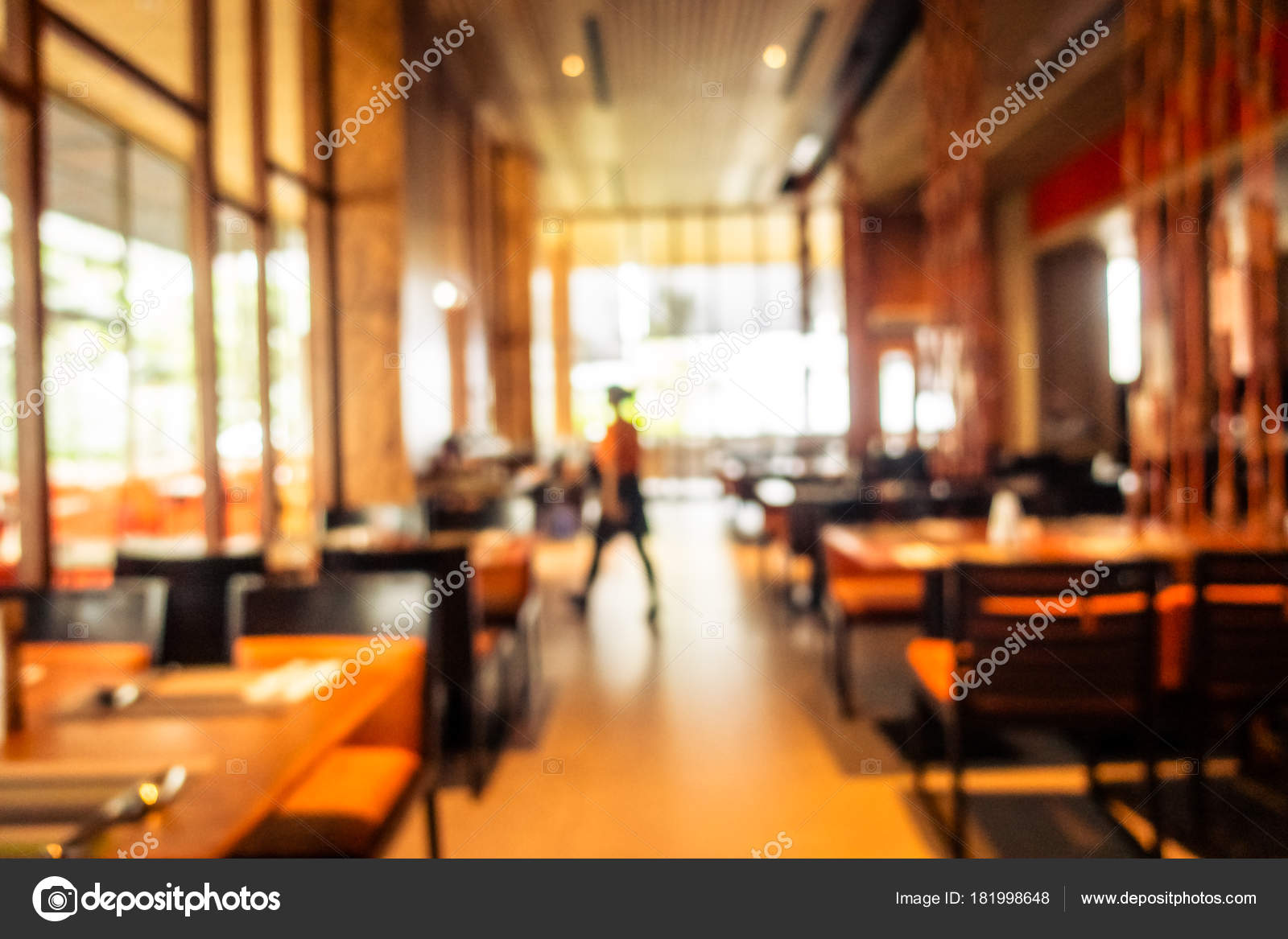 Abstract Blur Restaurant Coffee Shop Cafe Interior Background Vintage Filter Stock Photo C Mrsiraphol 181998648