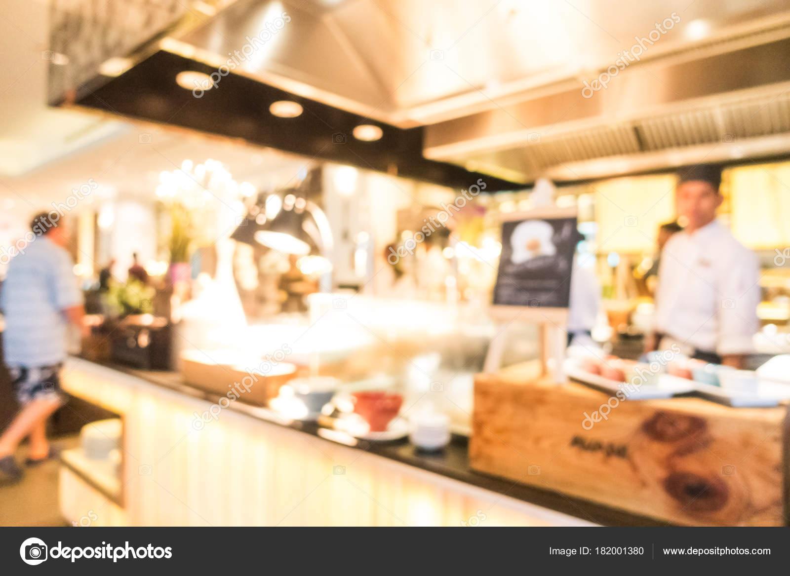 Resumen Blur Restaurante Buffet Cafetería Interior Para Fondo — Foto ...
