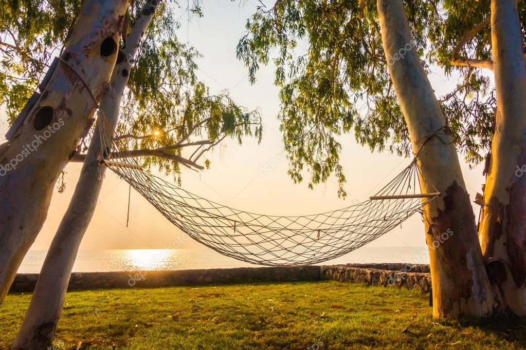 Hammock neary beach and sea on sunrise time