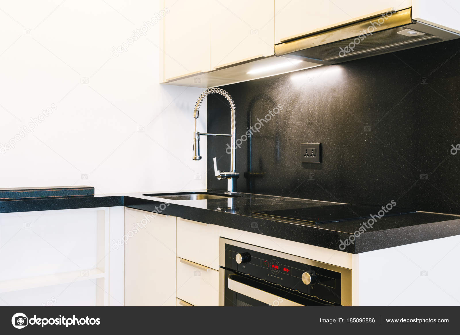 Faucet and sink decoration in kitchen room — Stock Photo ...