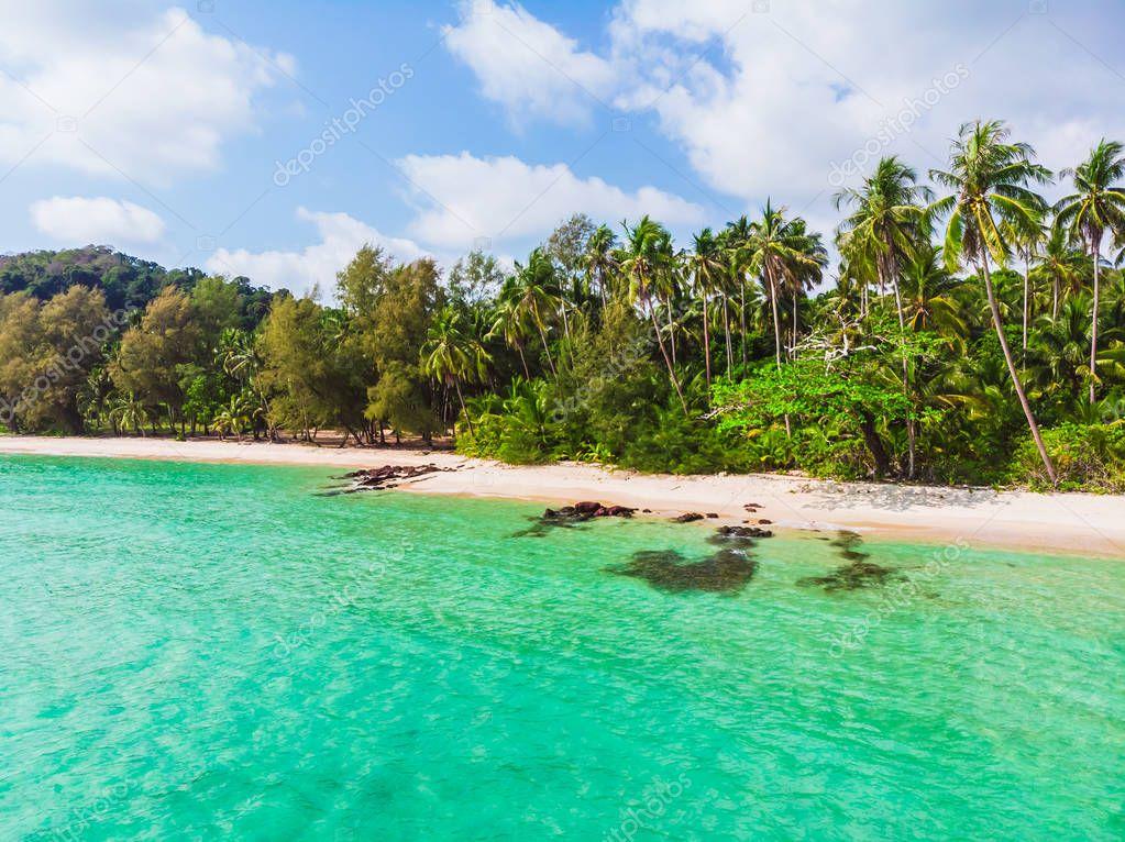 Фотообои Aerial view of beautiful beach and sea with coconut palm tree on blue sky in the paradise island