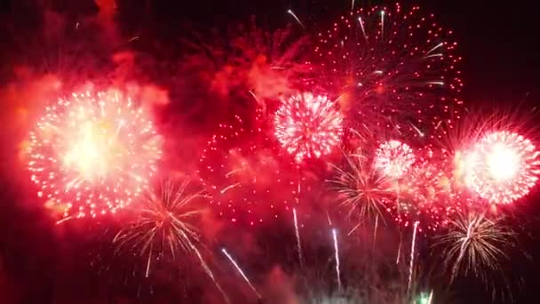 close-up footage of fireworks exploding in night sky