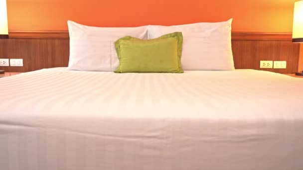 footage of luxury furnished bedroom in hotel
