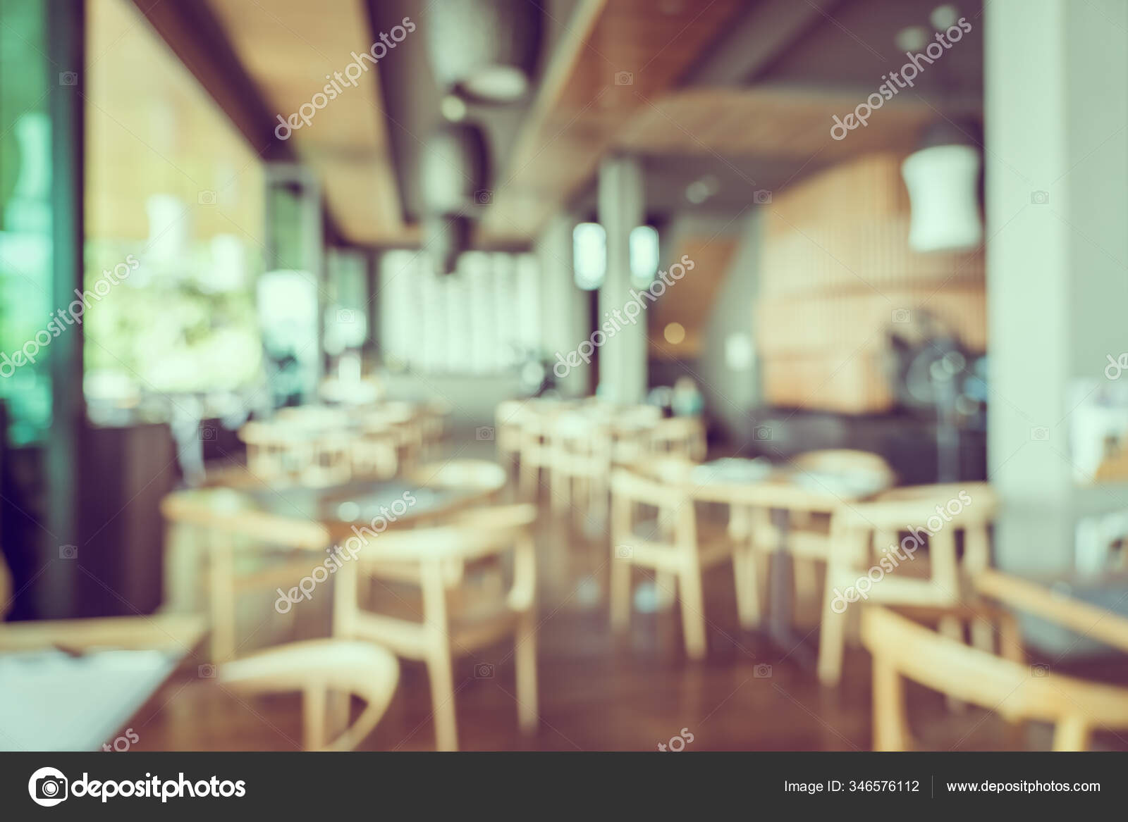 Abstract Blur Restaurant Interior Coffee Shop Cafe Background Stock Photo C Mrsiraphol 346576112
